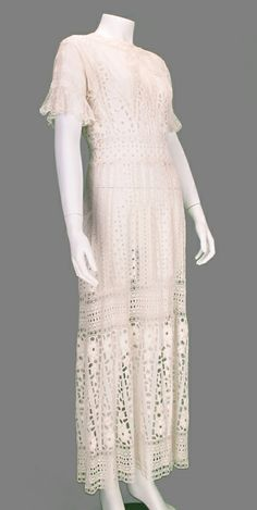 Edwardian eyelet embroidered tea or wedding dress | From a collection of rare vintage day dresses at http://www.1stdibs.com/fashion/clothing/day-dresses/