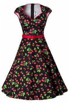 Pinup Couture - PINUP COUTURE retro Heidi Black Cherry Swing dress jurk