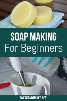 Homemade Soap Making for Beginners In this beginners tutorial you will learn how to make homemade soap with lye. This soap recipe is easy and smells great of essential oils. Handmade Soap Recipes, Soap Making Recipes, Lye Soap, Castile Soap, Glycerin Soap, Soap Molds, Melt And Pour, Soap Tutorial, Easy