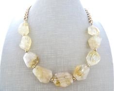 Yellow chunky necklace citrine necklace rock necklace big