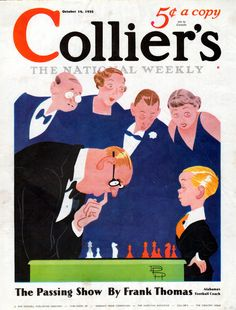 "1935 Colliers magazine cover -""Chess Prodigy"" --l-976"