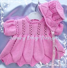 """""""Bouquet"""" Romper Knitting pattern for Reborn doll 16 or Mth Old Baby Baby Cardigan Knitting Pattern, Baby Knitting Patterns, Baby Patterns, Knitting For Kids, Hand Knitting, Vestidos Bebe Crochet, Knitted Baby Outfits, Baby Girl Dress Patterns, Drops Design"""