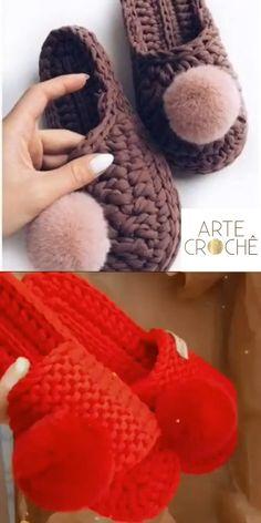 Crochet Slipper Pattern, Crochet Basket Pattern, Crochet Slippers, Crochet Patterns, Scrap Yarn Crochet, Diy Crochet, Crochet Crafts, Crochet Projects, Crochet Bag Tutorials