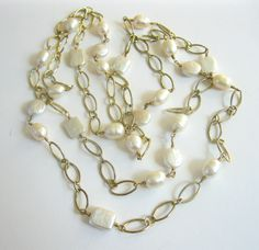 "Gold Pearl Necklace Gold Filled Soldered Links Lovely Pearls 44"" Long Vintage Jewelry by PASTIMEJEWELS on Etsy"