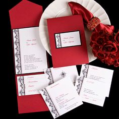 Red pocket wedding invitations