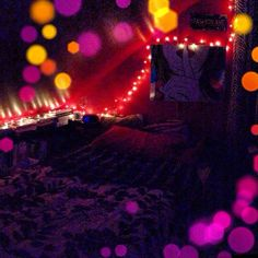Myyy room (: #lights #hipster #dreamaway #red #dreams #bedroom