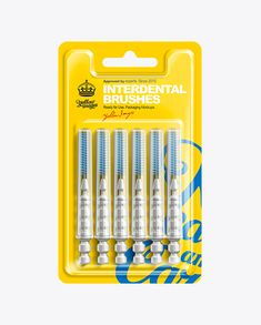 6pcs Interdental Brushes Blister Pack Mockup. Preview. Contains a special layer for brushes. Easy to recolor parts separately.