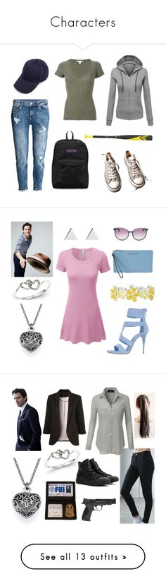 """""""Characters"""" by fandomchick221b ❤ liked on Polyvore featuring Converse, James Perse, JanSport, LE3NO, Le Silla, Kevin Jewelers, Michael Kors, Jennifer Meyer Jewelry, Liz Claiborne and MaxMara"""