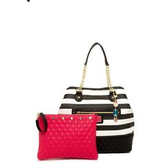 Betsey Johnson Trap Tote ($31) ❤ liked on Polyvore featuring bags, handbags, tote bags, logo tote bags, white handbags, chain-strap handbags, tote handbags and handbags tote bags