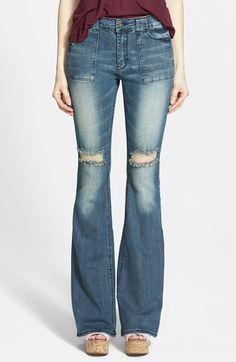 Junior Women's Lee Cooper 'Angie' Flare Jeans (Medium Wash)