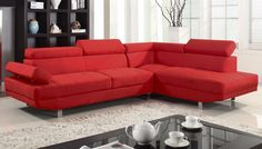 2 Piece Modern Linen Fabric Right Facing Chaise Sectional Sofa, Red