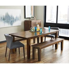 """Basque Honey 82"""" Dining Table and Bench, Curran Side Chair 