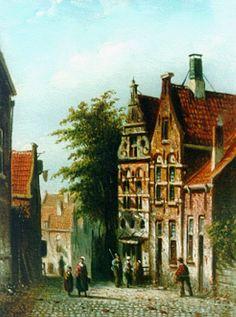 Johannes Franciscus Spohler (Rotterdam 1853-1894 Amsterdam) A sunlit street - Dutch Art Gallery Simonis and Buunk Ede, Netherlands.