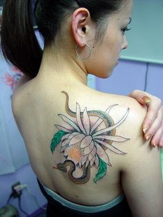 Elegant Flower And Snake On Shoulder ~ Girly Tattoo Ideas
