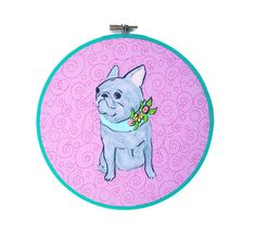 FLASH SALE French Bulldog Art, Embroidery Hoop Wall Art, Gifts Under 30, Dog Lover Gift, French Bulldog Gifts, Dog Artwork, French Bulldog, by ChickenpantsStudio