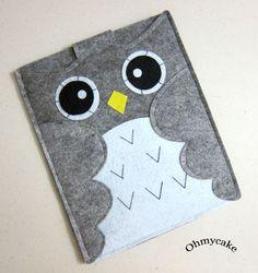 """iPad case - iPad and purse - iPad bag - iPad covers - iPad Sleeve - Handmade felt iPad Sleeve - """" Grey Owl """" Design. $38.00, via Etsy."""