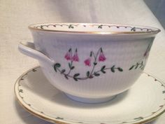 RORSTRAND LINNEA GRAVY Sauce Bowl with attached under plate made in Sweden