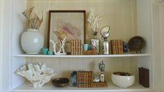beach house bookcase styling with shells, mercury glass and beach treasures. Newport Harbor, Newport Beach, Home Interior Accessories, Orange Color Schemes, Swedish Decor, Old Crates, Bookcase Styling, Coastal Decor, Coastal Living