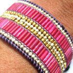 N°1 Manchette Cuir Petit format avec perles Rose Indien et dorées par Nakamol pour Comptoir des Filles