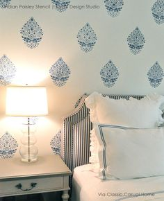 White and Blue Bedroom Makeover - Indian Pasley Wall Stencils by Royal Design Studio