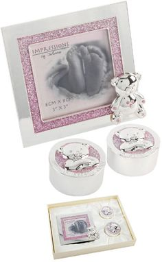 Sparkly baby picture frame, tooth and curl pot set.