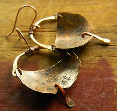 Primitive Hoop Earrings Hand Forged Mixed Metal by ChrysalisToo, $34.00