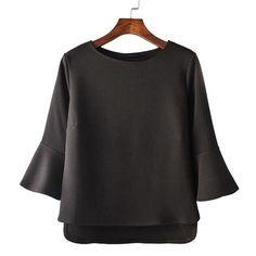 Women flare sleeve dobby tops vintage O-neck three quarter sleeve shirts female autumn casual street wear tops