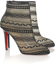 Christian Louboutin Black Paola 100 Lace Ankle Boots
