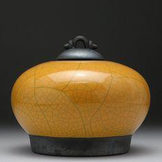 Yellow Gold Ceramic Jar raku fired art potteryjar...