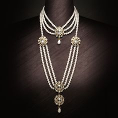 "Jahan Necklace and Bridal Garland - Many lovers came and went in the Mughal court – but for Emperor Shah Jahan, his daughter was an eternal love. She was so beloved that he made her his First Lady and gave her the title ""Princess of Princesses"". To honour their love, we've created a collection that's faithful to authentic Mughal style and laden with pearls (a favourite of Jahanara). This collection is dedicated to fathers and daughters everywhere."