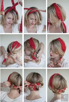 35. A Cute Way to Use a #Bandana - Summer #Hair: Keep Your Cool with These #Updos ... → Hair #Wraparound