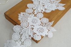 Wide White Venice Leaf Flower Applique Lace Trim for Weddings, Sashes, Flower Girl Dress Beaded Trim, Lace Trim, Lace Fabric, Fabric Flowers, Embroidery On Clothes, Ribbon Headbands, French Fabric, Wedding Fabric, Bridal Sash