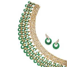 18 KARAT GOLD, DIAMOND AND GREEN CHRYSOPRASE NECKLACE AND EARCLIPS, VAN CLEEF & ARPELS, FRANCE The choker-style necklace composed of diamond...