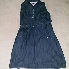 Denim Dress Denim dress with snaps.. Perfect Condition , only worn once. Tommy Hilfiger Dresses