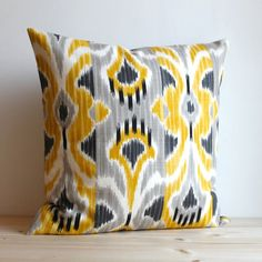 Yellow and Grey Ikat Pillow Cover - 16 x 16 Ikat Cushion - Ikat Wave Sunshine via Etsy