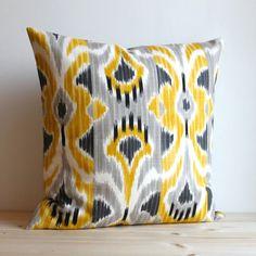 Yellow and Grey Ikat Pillow Cover - 16 x 16 Ikat Cushion - Ikat Wave Sunshine via Etsy
