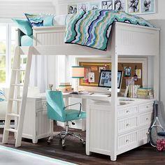 Beadboard Loft Bed | PBteen