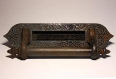Vintage french Victorian Cast IRON DOOR Letter Mail slot with Brass door handle - Industrial LOFT