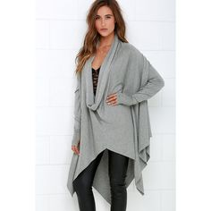 Willow in the Wind Grey Sweater Top ($79) ❤ liked on Polyvore featuring tops, sweaters, grey, long grey sweater, cowl neck poncho, cowl neck sweater, lace top y lace poncho