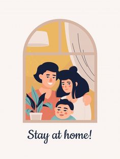 Young family with a child stands at the window at home. Download it at freepik.com! #Freepik #vector #family #medical #home #child Baby Illustration, Illustrations, Young Family, Family Guy, House Vector, Stay At Home, Quote Posters, Logos, Windows
