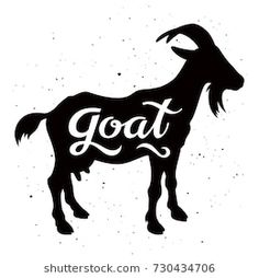 """Goat silhouette with a calligraphic inscription """"Goat"""" on a grunge background. Dog Face Drawing, Bunny Drawing, Animal Silhouette, Silhouette Vector, Goat Art, Cute Shirt Designs, Cute Goats, Goat Farming, Shadow Puppets"""