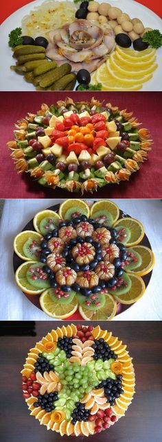 decoration of dishes - Kalte Platten - Fruit Veggie Platters, Food Platters, Veggie Tray, Veggie Food, Fruit Party, Snacks Für Party, Parties Food, Fruit Snacks, Fruit Platter Designs
