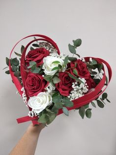 Bridal bouquet in the form of a red and white heart www. Bridal Brooch Bouquet, Rose Bouquet, Small Flags, Sea Colour, Wall Colors, Marie, Red And White, Floral Wreath, Wedding Decorations