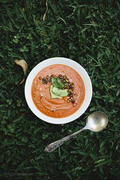 Roasted Tomato & Red Lentil Soup with Spicy Pepitas + Avocado Cream | Veggie Num Num