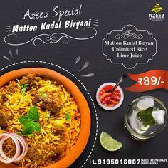 ബിരിയാണി കഴിച്ചിട്ടുണ്ടോ ?? അതും മട്ടൻകുടൽ ബിരിയാണി ......അസിസ് റെസ്റ്ററെന്റ് സ്പെഷ്യൽ ഡിഷ് Food Graphic Design, Food Menu Design, Food Poster Design, Restaurant Menu Design, Indian Food Menu, Indian Food Recipes, Vegetarian Recipes, Ethnic Recipes, Food Advertising