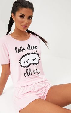 Baby Pink Sleep All Day PJ SetFloat off into the perfect slumber with this PJ set. Featuring supe - Pajama Sets - Ideas of Pajama Sets Pyjamas, Cozy Pajamas, Pajamas All Day, Cute Sleepwear, Sleepwear Women, Loungewear, Satin Pyjama Set, Pajama Set, Pajama Outfits
