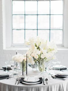 Gray Tablescape with Black and White Wedding Decor