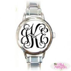 Monogrammed Womens Watch in Vine Font....can I have pleaseee!!