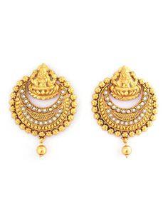 Ram Leela Crescent Earrings goldwhiteJJ02