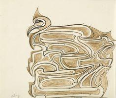 Rabindranath Tagore, Untitled (Bird Arabesque)